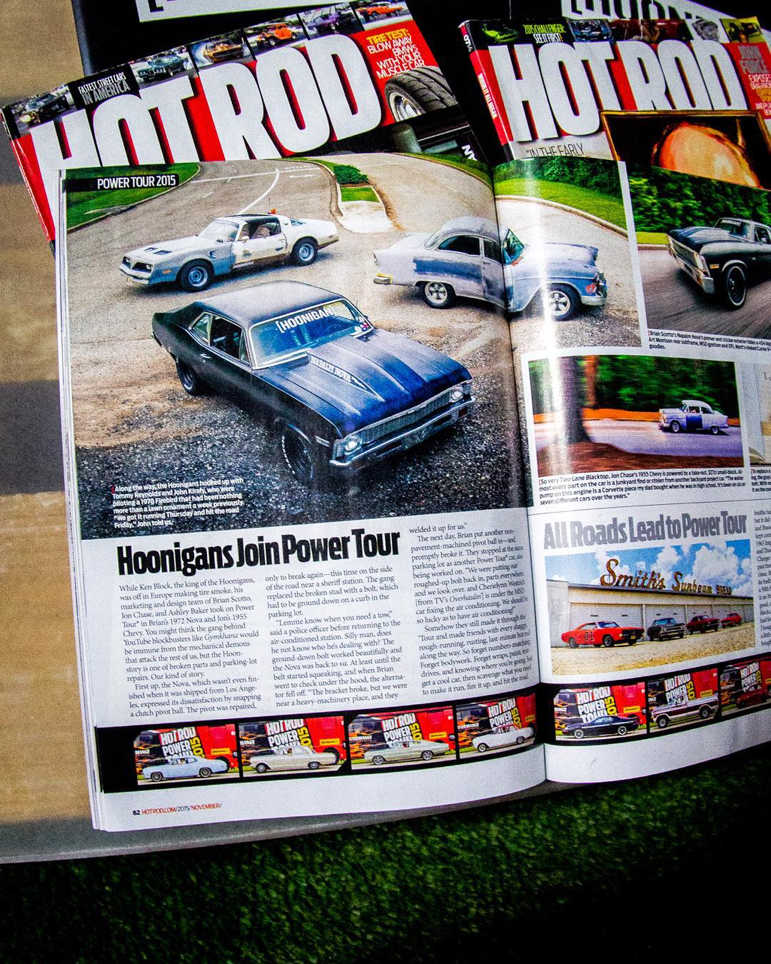 Brand Director @brianscotto and Art Director @jchase7452 sitting tough in the latest issue of @HotRodMagazine, go grab a copy while you can! #NapalmNova #tri5byfire
