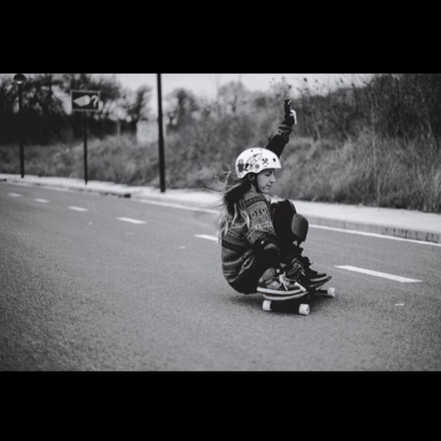 Spanish rider @oihanedominguez is awesome. Maialen Riot photo. How's your weekend going? #longboardgirlscrew