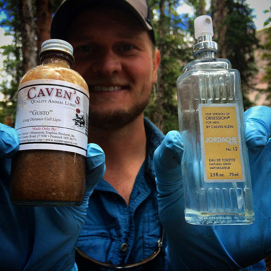 Lucky for you, there's no scratch and sniff on Instagram.  Knock-off Calvin Klein Perfume + Skunk Anal Glands (aka GUSTO) = Uinta Carnivore Attractant  We're pretty sure Joe is holding his nose in this photo.  #ScratchAndSniff #ASCUintas...