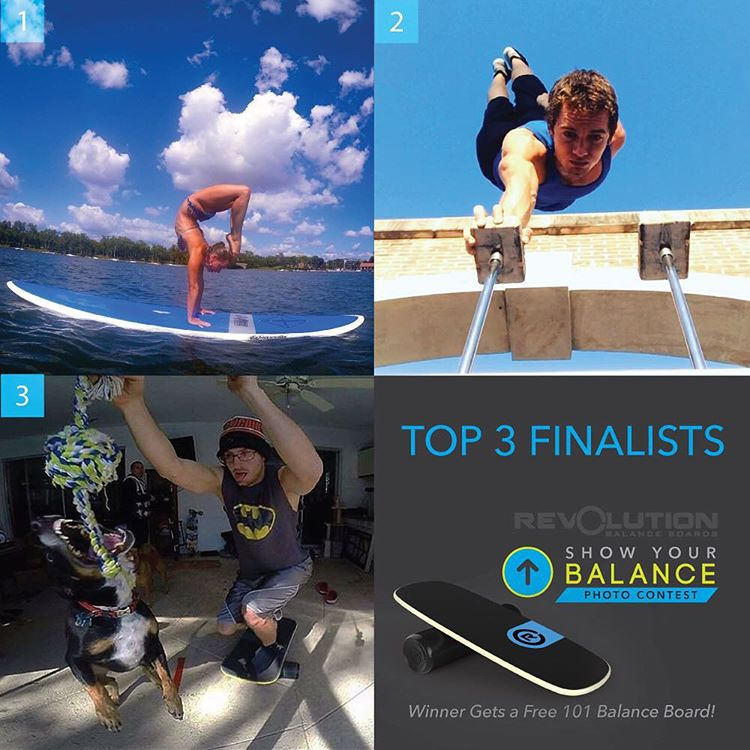 Here are the TOP 3 finalists for the Show Your Balance photo contest!  1) @maestralindsey SUP balance mastery.  2) @bluebusker amazing balance and strength.  3) @alanbrowniefitness crazy skill and timing.
