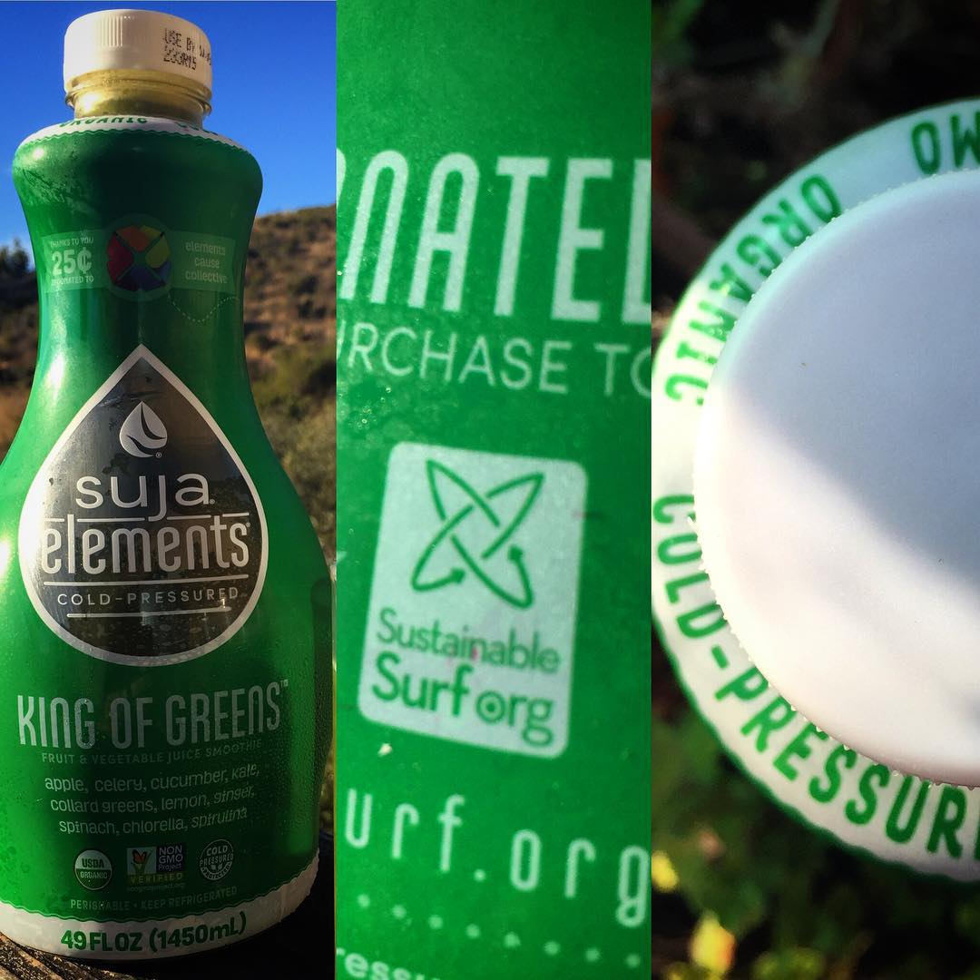 Whoever said great things come in small packages... never got a 64 oz bottle of the #KingOfGreens juice crafted in sunny San Diego by our pals at @lovesuja , and now proudly featuring the Sustainable Surf logo! --- Organic, yep. Non-Gmo, yup....