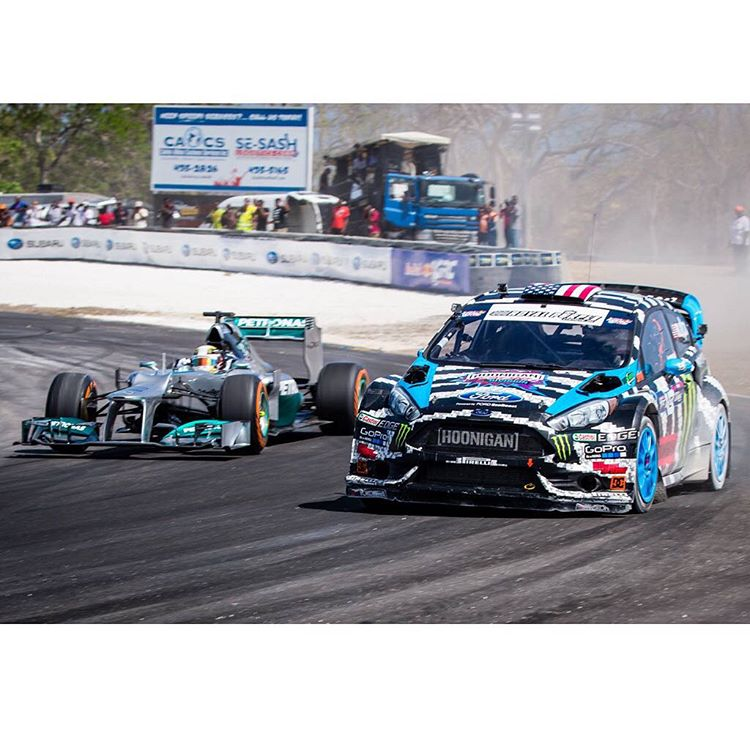 #TBT to 2014 when I had a fun hooning session at Top Gear Live in Barbados with my buddy/fellow @MonsterEnergy teammate Lewis Hamilton in his 2013 spec Formula 1 car. I also drag raced him in my Ford Fiesta ST #RX43 rallycross car, and won! Ha, sorry...