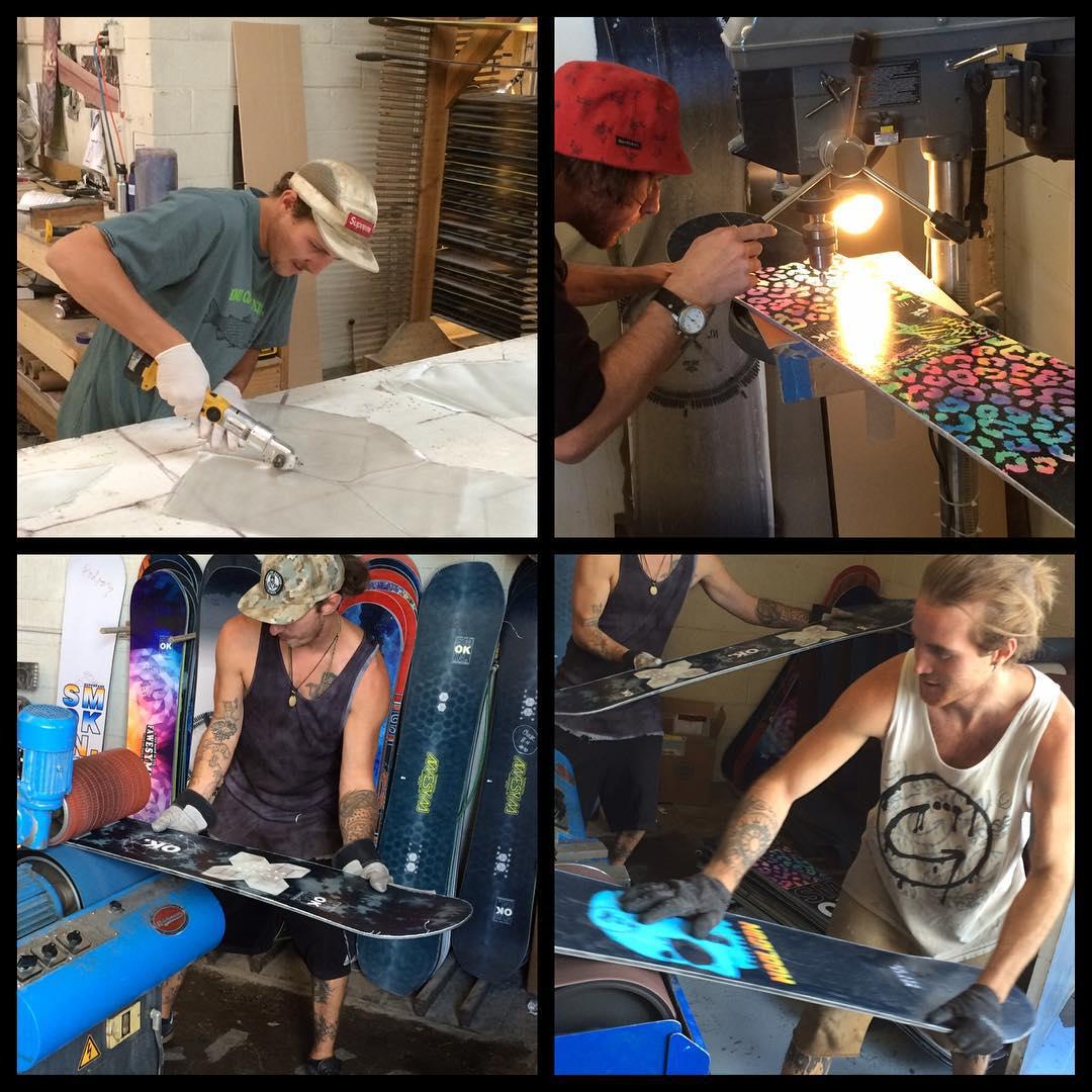 Big day at #SmokinSnowboards , it's team day at the factory. @nial_romanek @_swells_ @camocody @aj_gbp  #ForRidersByRiders | #handmadeUSA | #weareOK | #3yearwarranty