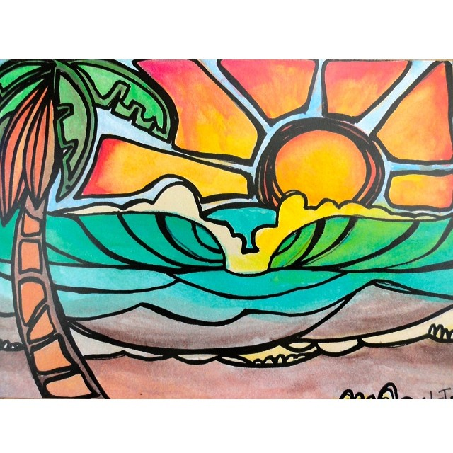 Love this art from @laurenluvsunshine! We are getting some hat new designs in for Spring!  #localhoney designs #laurentannehill #truckerhats #surf #sup #outdoor #fitness #california #beautiful #original #art #greenroom #sunshine #palmtrees #beach...