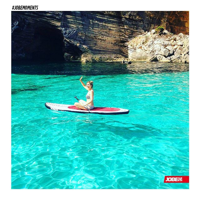 #repost of #food and #health #lifestyle #blogger @thegreenhappiness enjoying her time in #Ibiza on a #Jobe #sup  #supisthenewfitness #jobemoments
