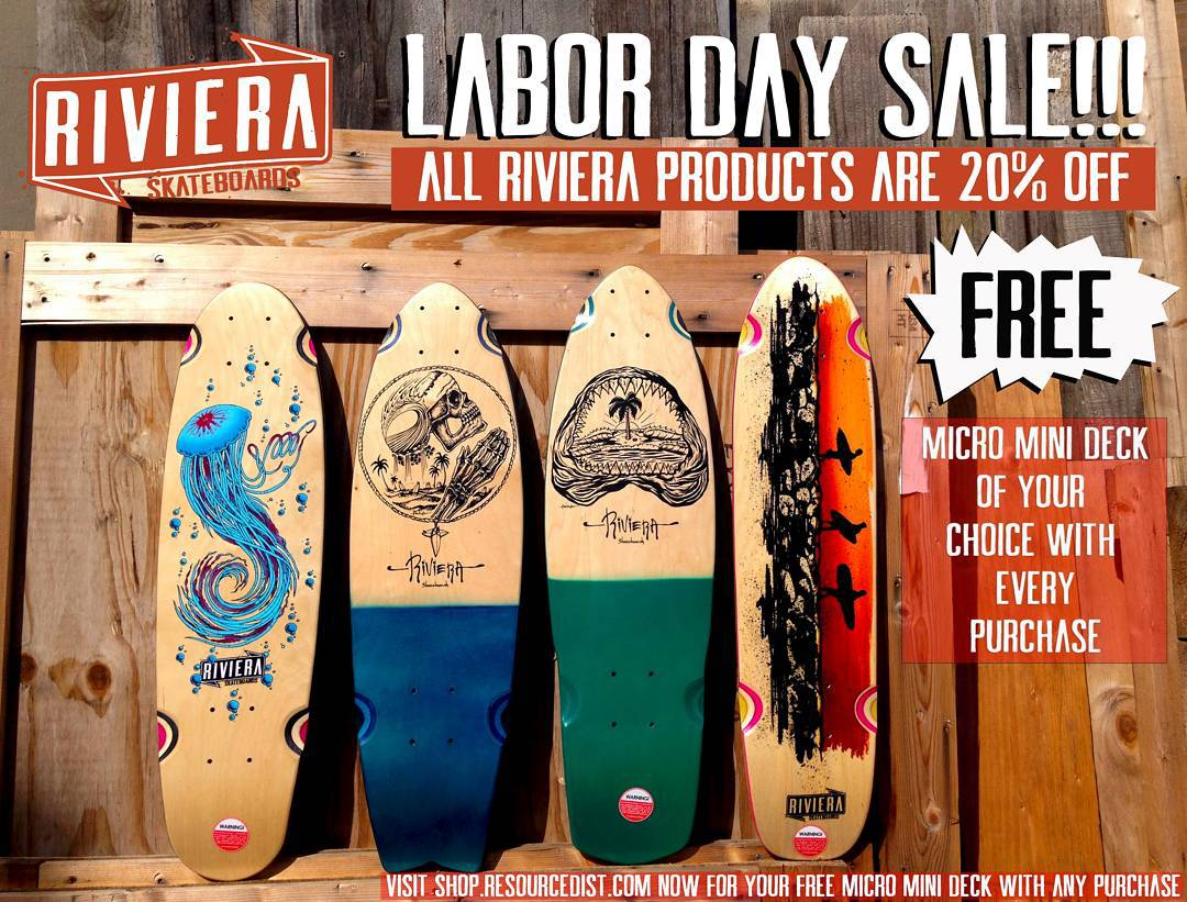 Your holiday weekend fun starts now! FREE @skateriviera micro mini deck of your choice with any Riviera deck or complete purchase! PLUS all of our products are 20% off - making it nearly impossible to pass this up! Visit shop.resourcedist.com now and...