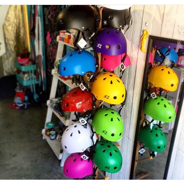@moxiskateshop 's built a rad helmet display for their S1 Lifer Helmets. Pick a color ! #s1lifer #s1helmets #moxiskateshop #longbeach #estro  #treeofhelmets #supportyourlocalskateshop #skateshop