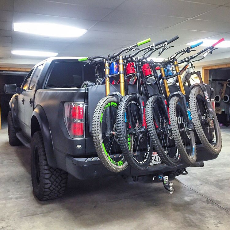 This looks like fun, right? Five Specialized downhill bikes packed up in my Ford Raptor yesterday, while getting ready to shred for the @IamSpecialized #RidewithBlock contest with winner Nick Piazza (@naptime810), Specialized dudes...