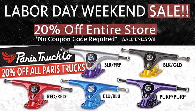 Everything made by @resourcedistribution is on sale for #LaborDay, this weekend ONLY! All #paristrucks are 20% off! All wheels by @divinewheelco, boards by @skateriviera and gloves from @timeshipracing are also 20% off! Purchase any Riviera deck or...