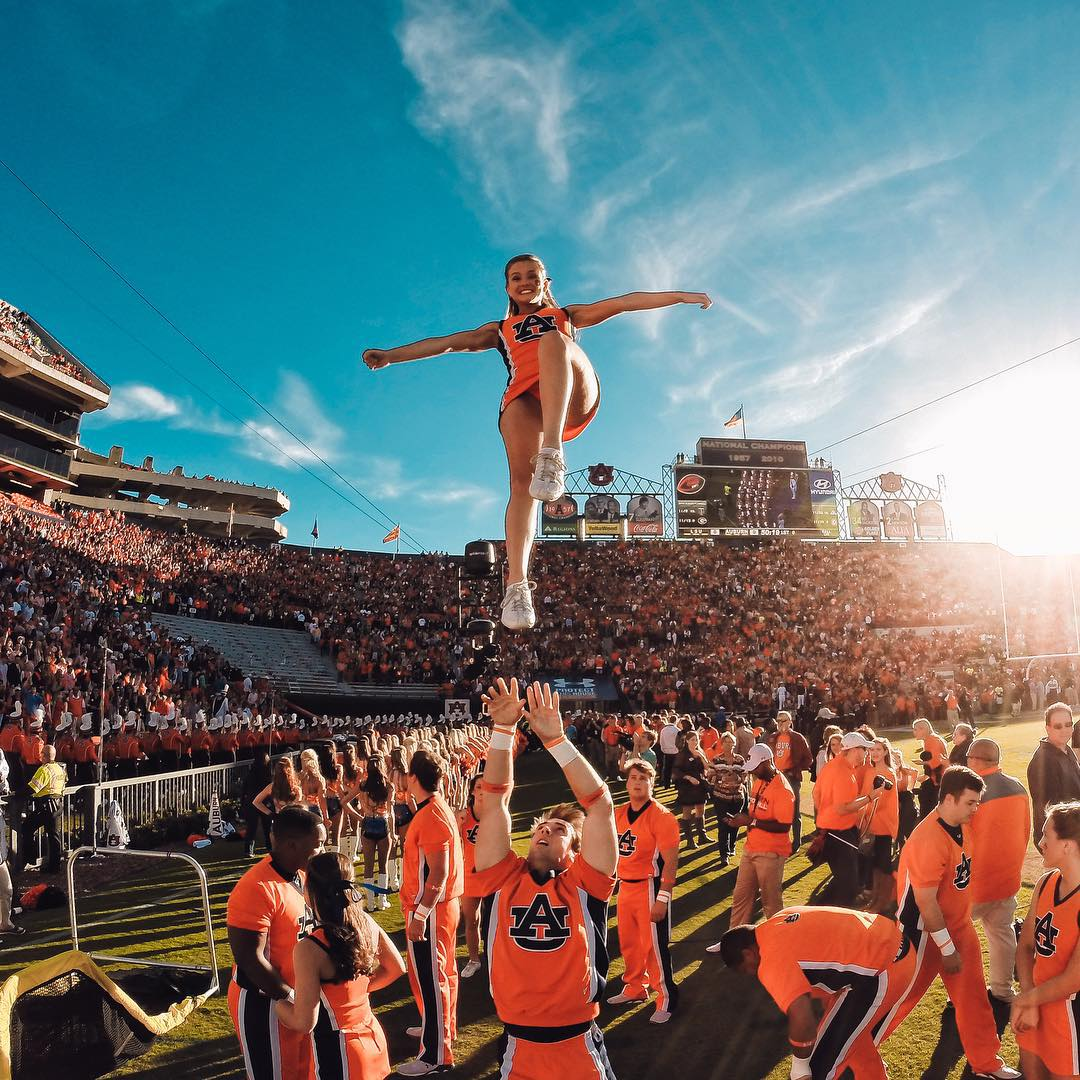 Photo of the Day!  It's #WarEagle for the Auburn University Cheerleading squad as they kick off another #CollegeFootball season. What are you doing for gameday? Image via @jakegevans. Share your best football traditions with us by clicking the link in...
