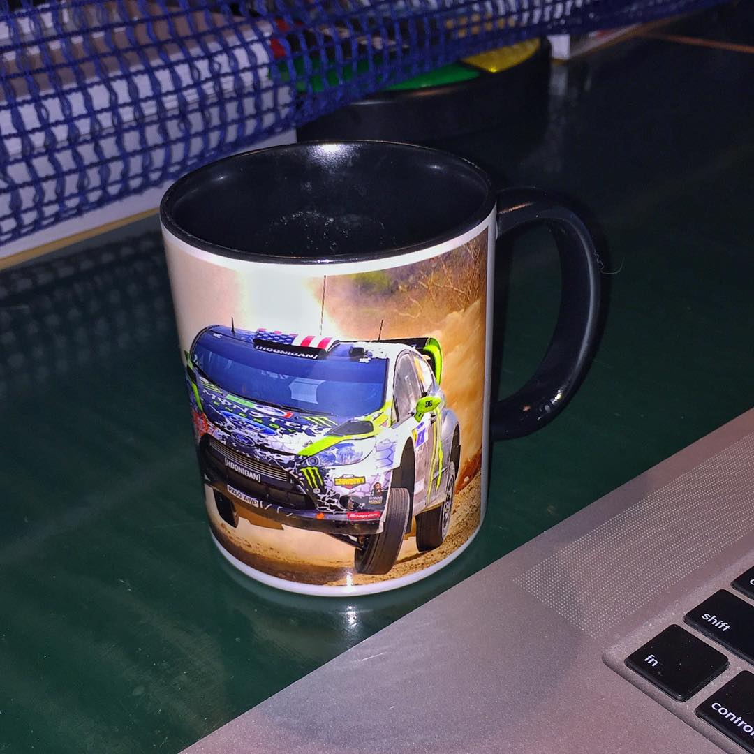 Coffee cup of the day: this special mug that my co-driver @AlexGelsomino made for me a few years ago, with a sideways jump photo from WRC Mexico in 2012. Awesome way to start the day. #coffeecupofhoonage #flatovercrest #alsosidewaysovercrest #CCOTD