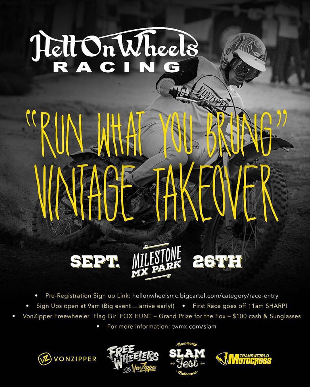 If you missed us at Perris Raceway for the @hellonwheelsmc flat track race, your life isn't over. We are gonna fire up the vintage bikes again and bang some handle bars for the #RunWhatYouBrung Vintage Takeover at @twmxdotcom #SlamFest September 26th...
