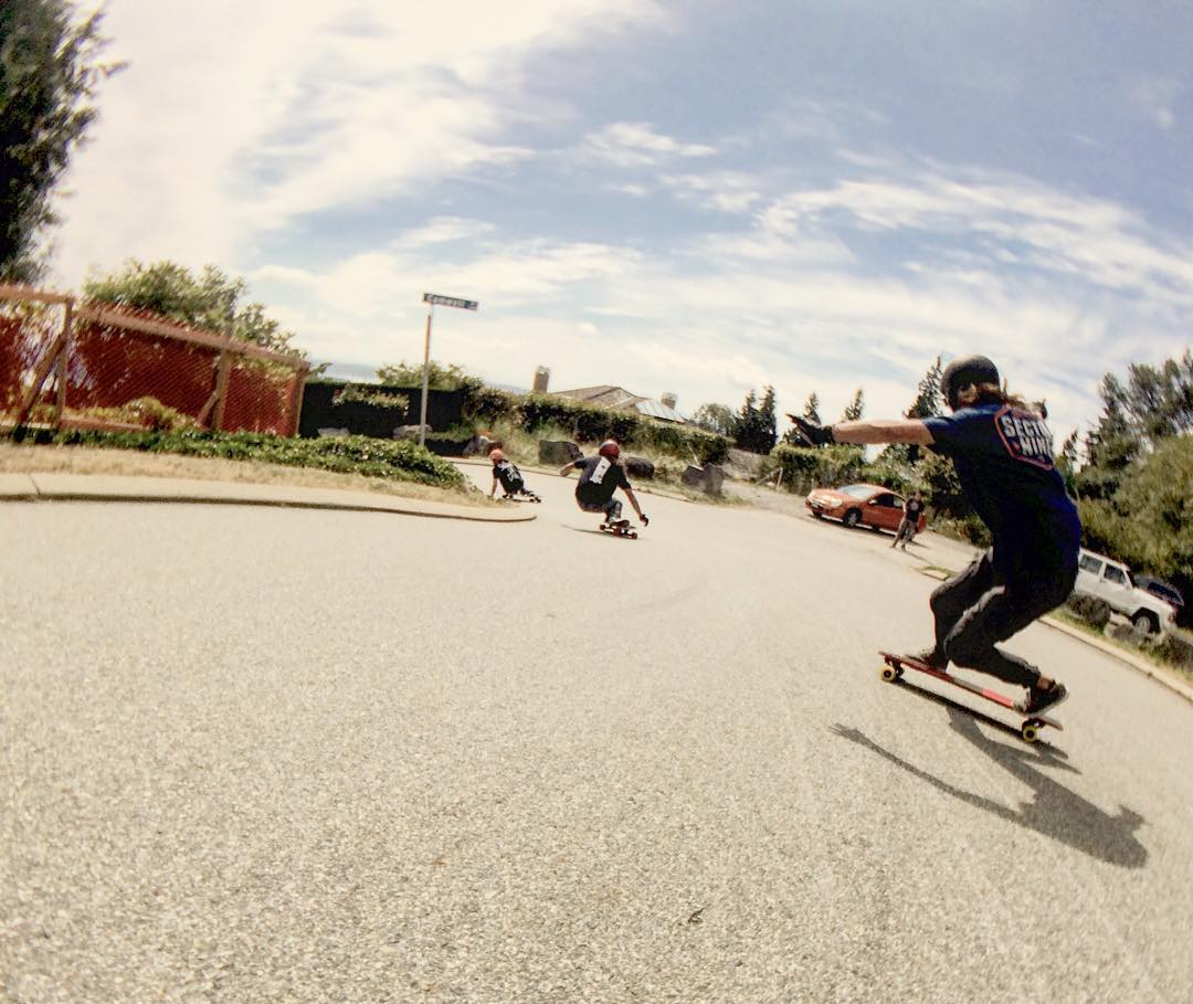 #viciousrider @brendandavidson_ tipping sideways on his #viciousred behind @dcarlsonskate and company