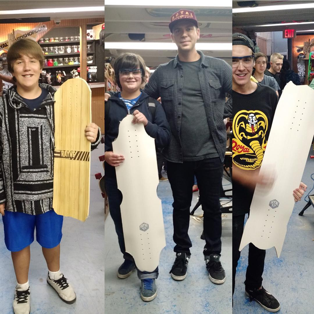 The #raynechopshoptour went off today at @royalboardshop  Rad shapes and rad times with everyone!  Hyped for tomorrow's stop at @longboard_haven  #raynechopshop