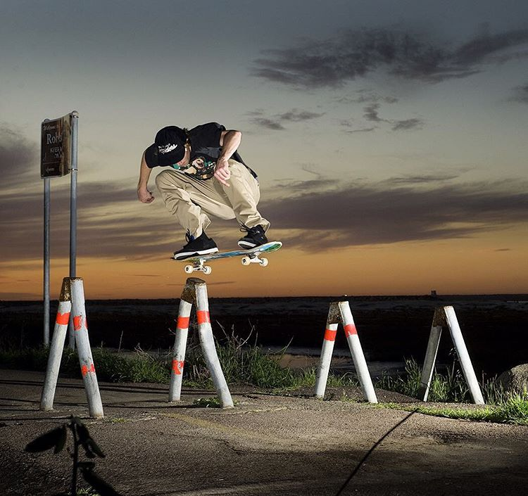 #WesKremer sneaking in a switch polejam before sundown. Photo: @blabacphoto #DCShoes