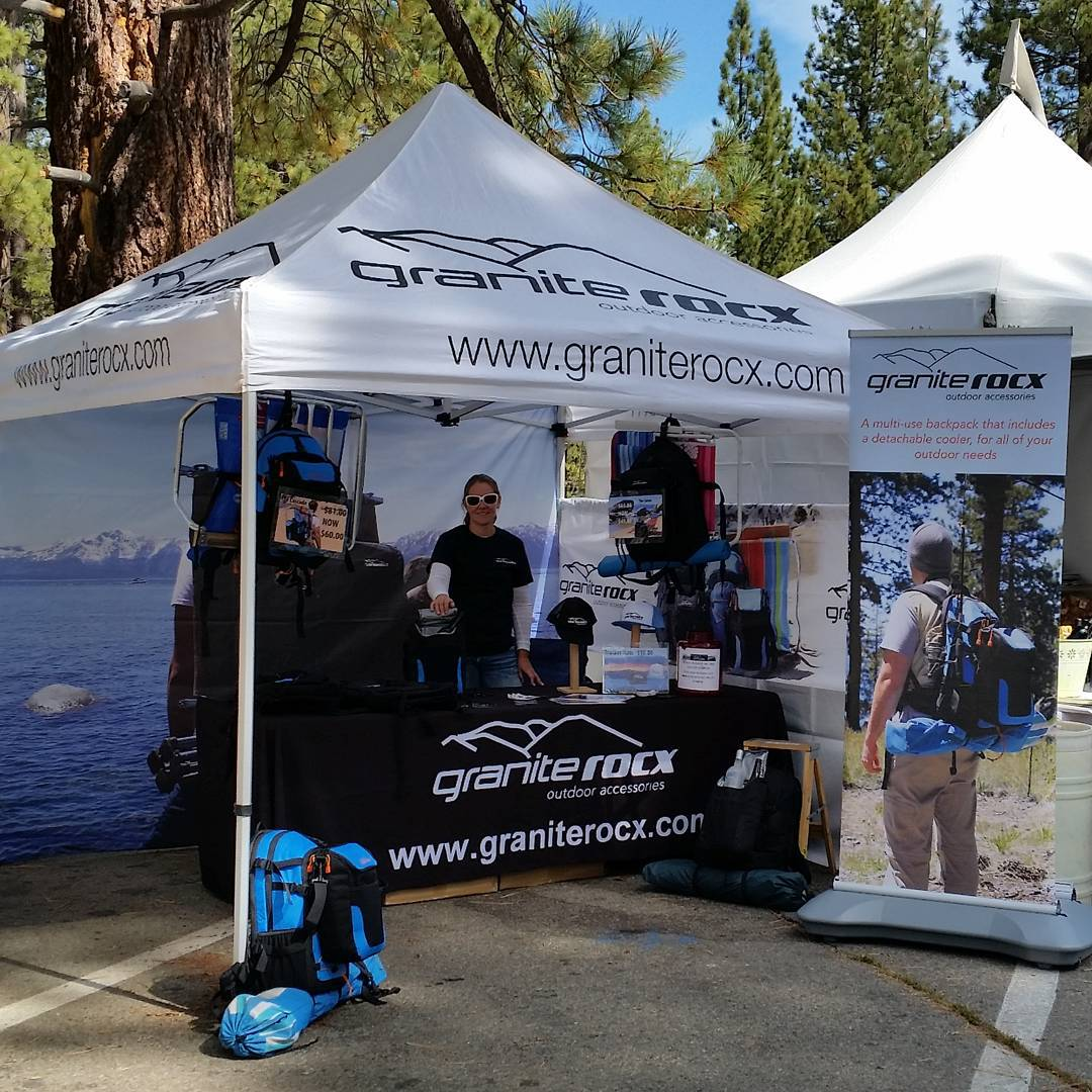 Just about time!  We're set up at #sts15.  Stop by and see us at Bijou! #tahoesouth #tahoechamber #getoutside #backpacks #coolers #graniterocx