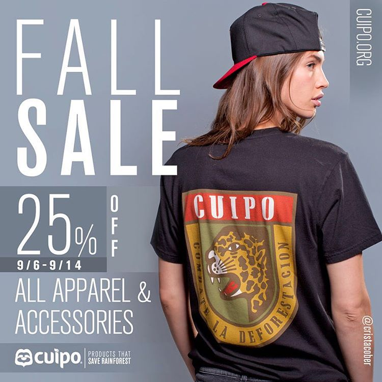 Guess what?! We're kicking off the fall season a little early with 25% off all apparel and accessories! Shop now to save $$ and rainforest! #Cuipo #SaveRainforest #LaborDay #Fall #Sale
