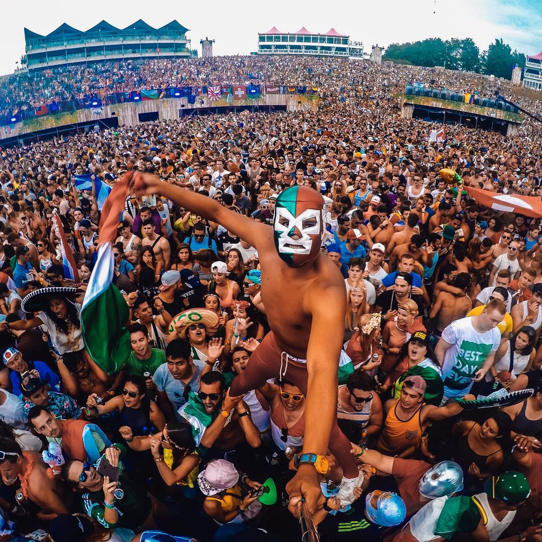Photo of the Day!  @rodrigolupercio represents his home country of Mexico, raging at #Tomorrowland 2015 in Belgium. Share your best festival photos with us by clicking the link in our profile. #GoPro #GoProMusic #MusicMonday