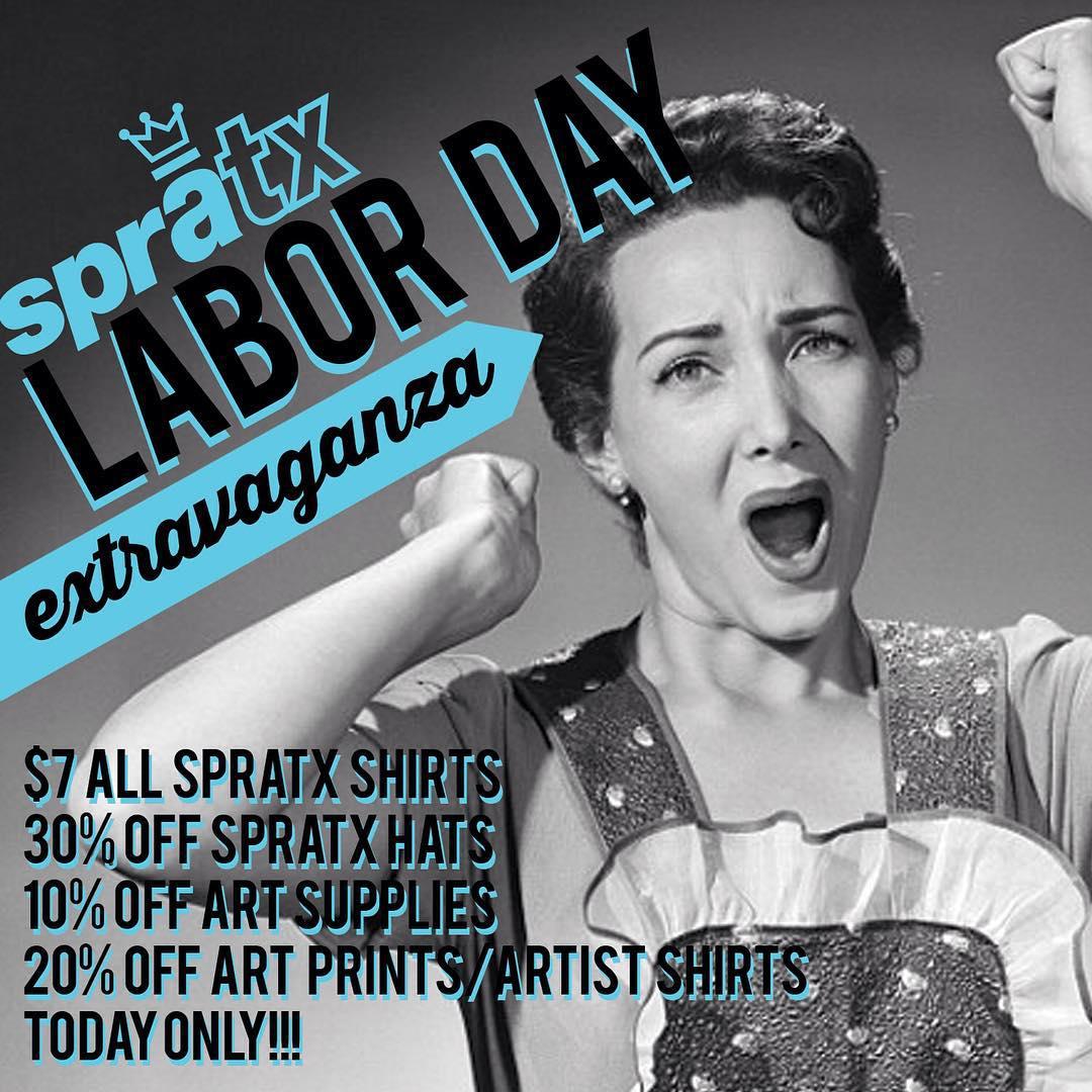 Happy Labor Day!! • • Find us at 501 Pedernales East Austin TX open till 7:30pm • • #atx #austintx #paint #art #texas #tx #sale #laborday #spratx