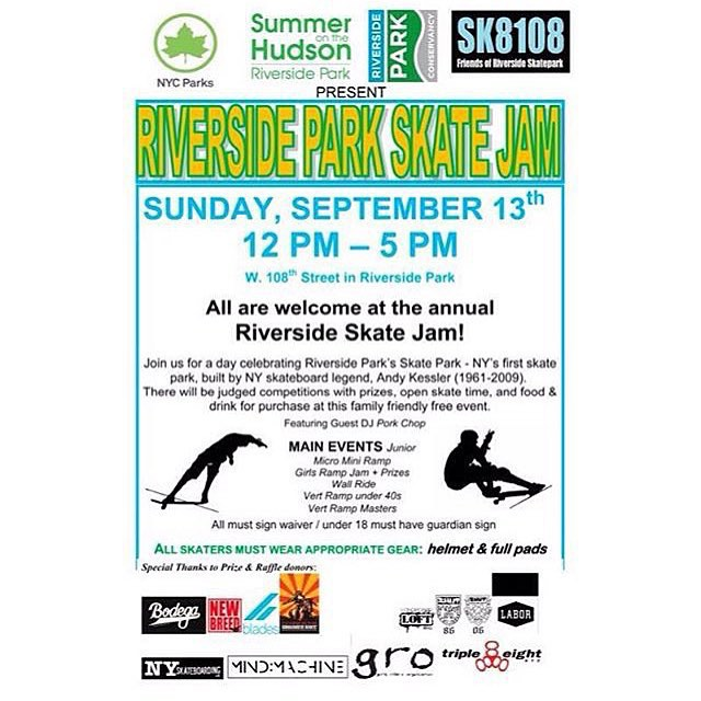 Sunday September 13th is the Riverside Park Skate Jam‼️‼️‼️There will be a ramp jam (dropping in not required!) & contest for the girls, plus teaching for beginners. ALL AGES AND ABILITIES ARE WELCOME There will be prizes! Time: 1pm-2pm  Let us know if...