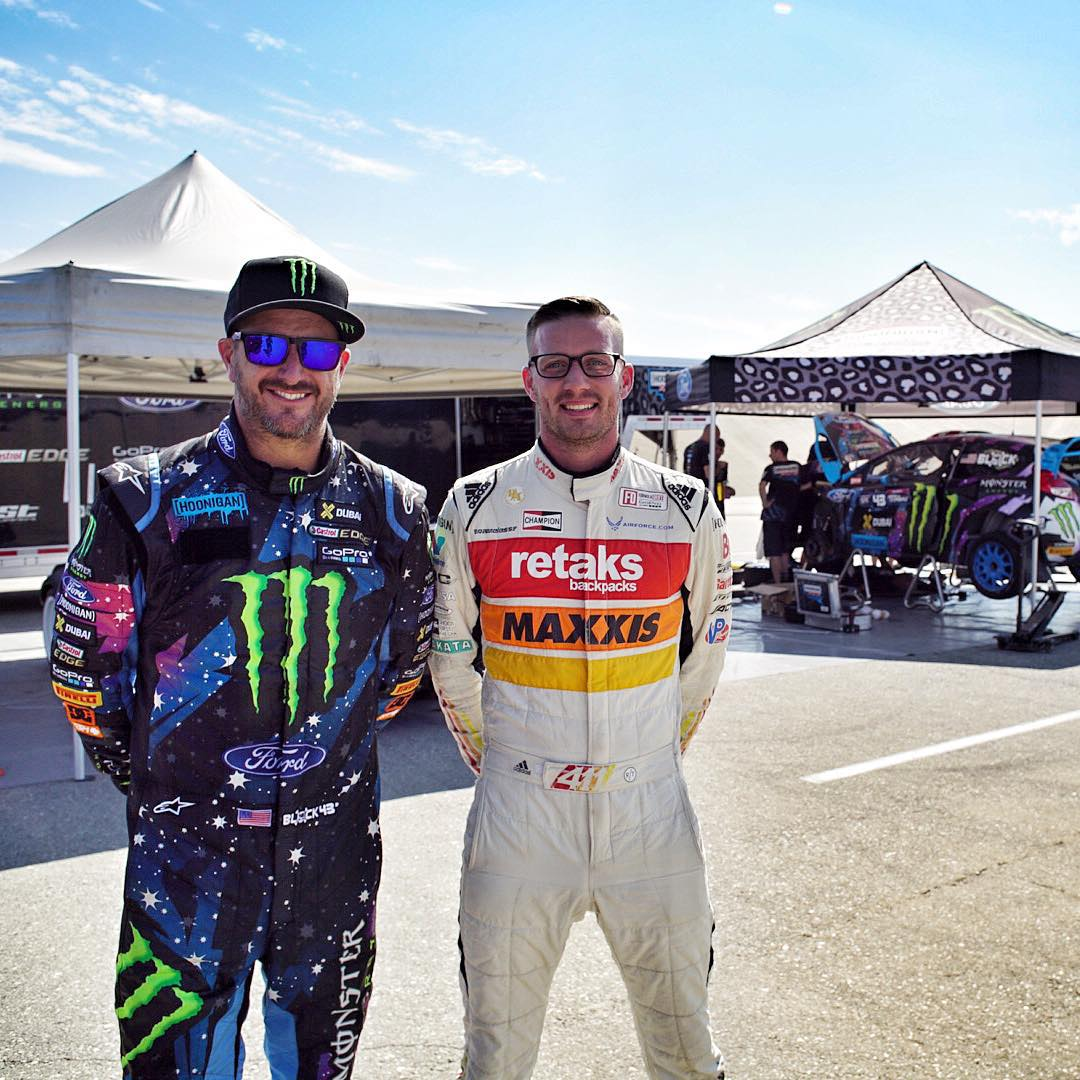 My buddy @RyanTuerck came out to our testing session today in California. You may be wondering why he's also wearing a race suit… ha. The reason for that is directly behind us, but we can't tell you about that just yet. Hint: it's not rallycross...