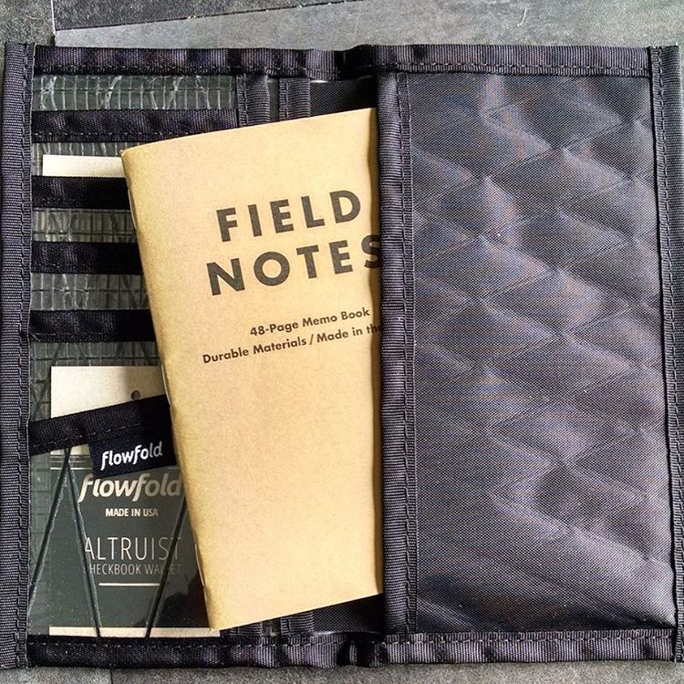 "For those who prefer taking ""analog"" notes, check out the super slim Altruist wallet using the link in our bio. Fits a @fieldnotesbrand and checkbooks. Made in USA in four colors with free domestic shipping and a lifetime warranty."