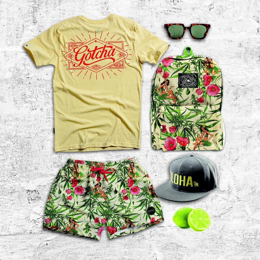 Gotcha #outfit - // GLOW Tee / ALOHA cap / STONED TIKI vintage Bs / STONED TIKI Back Pack // #gotcha #surfwear #summer2016