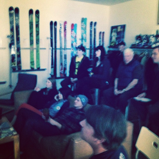 All eyes on @mrdavidwise! Viewing party at @4frnt_skis @roxaboots offices is going down now. #roadtosochi #goforgold