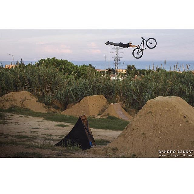 "Repost# @adolfsilva | Going ""flat out"" while filming for a new edit at La Poma Bike Park in Spain. 
