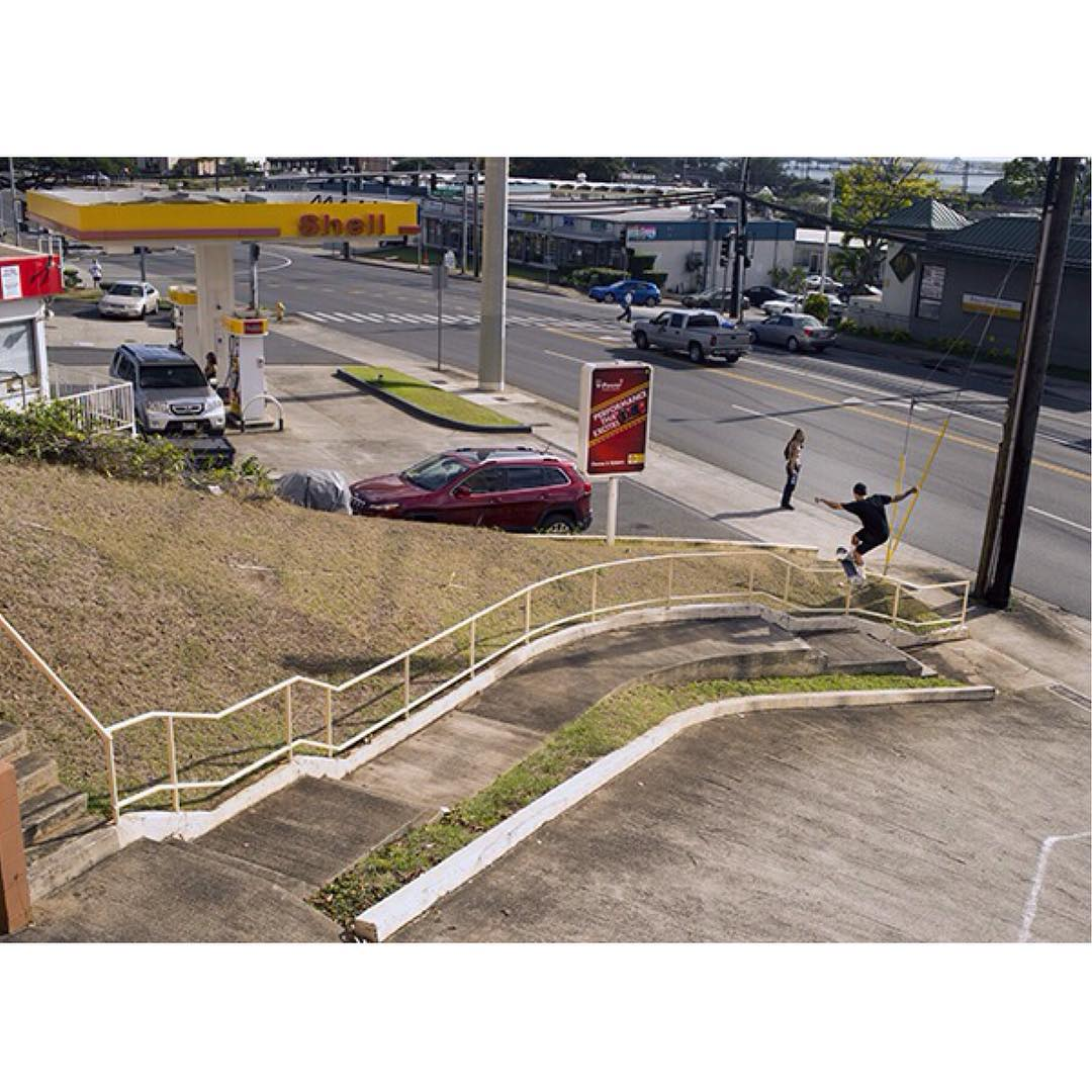 Not the whole thing… but still cool. @Nyjah front boards in Hawaii for the @Thrashermag/ @AYC trip. Photo: @burnout #nyjah