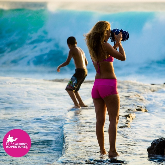 Anything for the shot!  #monsterwaves #outex  @realoutex  @teekigram @odinasurf @hisarahlee photo