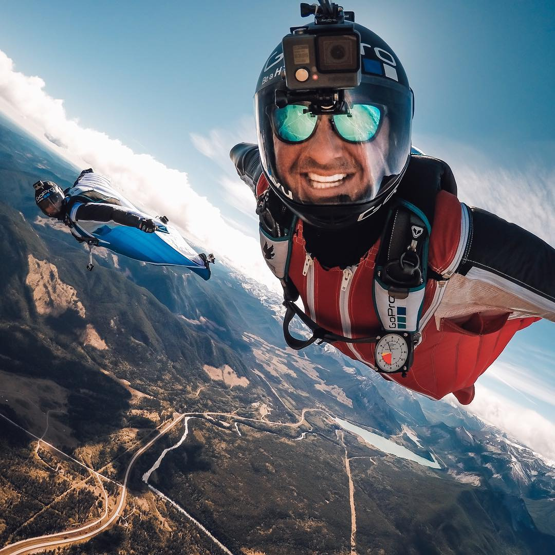 @goprobombsquad takes flight over the Canadian Rockies today during Adventure Athlete Camp! @marshall__miller is all smiles at 3,800 meters #GoPro #explorealberta #canadianrockies