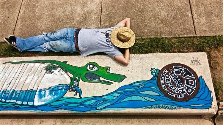 @oblucka.rockabald chillin by his storm drain piece for Fresh Art Fresh Water #FreshArtFreshWater that serves to highlight and educate people about the importance of keeping our creeks clean from pollution runoff into storm drains. Read more about the...