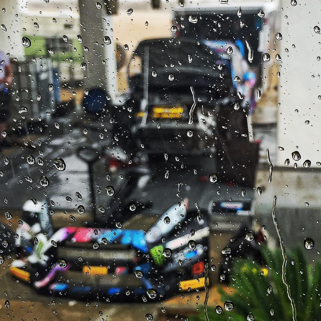 Freak desert rainstorm = taking artsy shots of the Ford Fiesta ST #RX43 (mid-reprep) from the @HooniganRacing mobile HQ. #artsyfartsy #arttesting #randomdeserthurricanetime