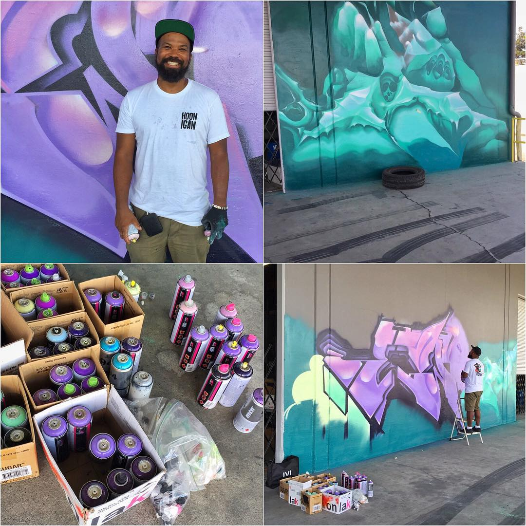 This dude outside of @TheHoonigans' Donut Garage doing work today: graf artist @ewokmskhm. He was utilizing his rattle can talents to make the place look a lot less boring, and a lot more awesome. #DonutGarage