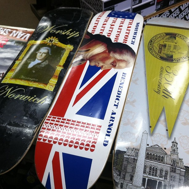 #philanthropy in full effect.  #norwich fundraiser decks featuring #samhuntington #benedictarnold both sons of Norwich. These puppies helped raise $38,000 for renovations at our local park #skateart #skatenugg #declarationofindependencesigner