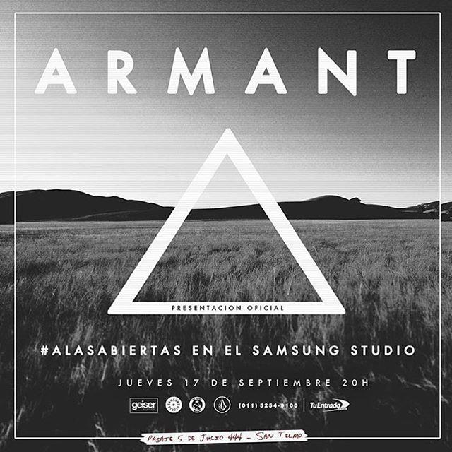 Todos con @armantmusica presenta el 17 de septiembre #alasabiertas en Samsung Studio, entradas ya están disponibles. #VolcomEnt #truetothis