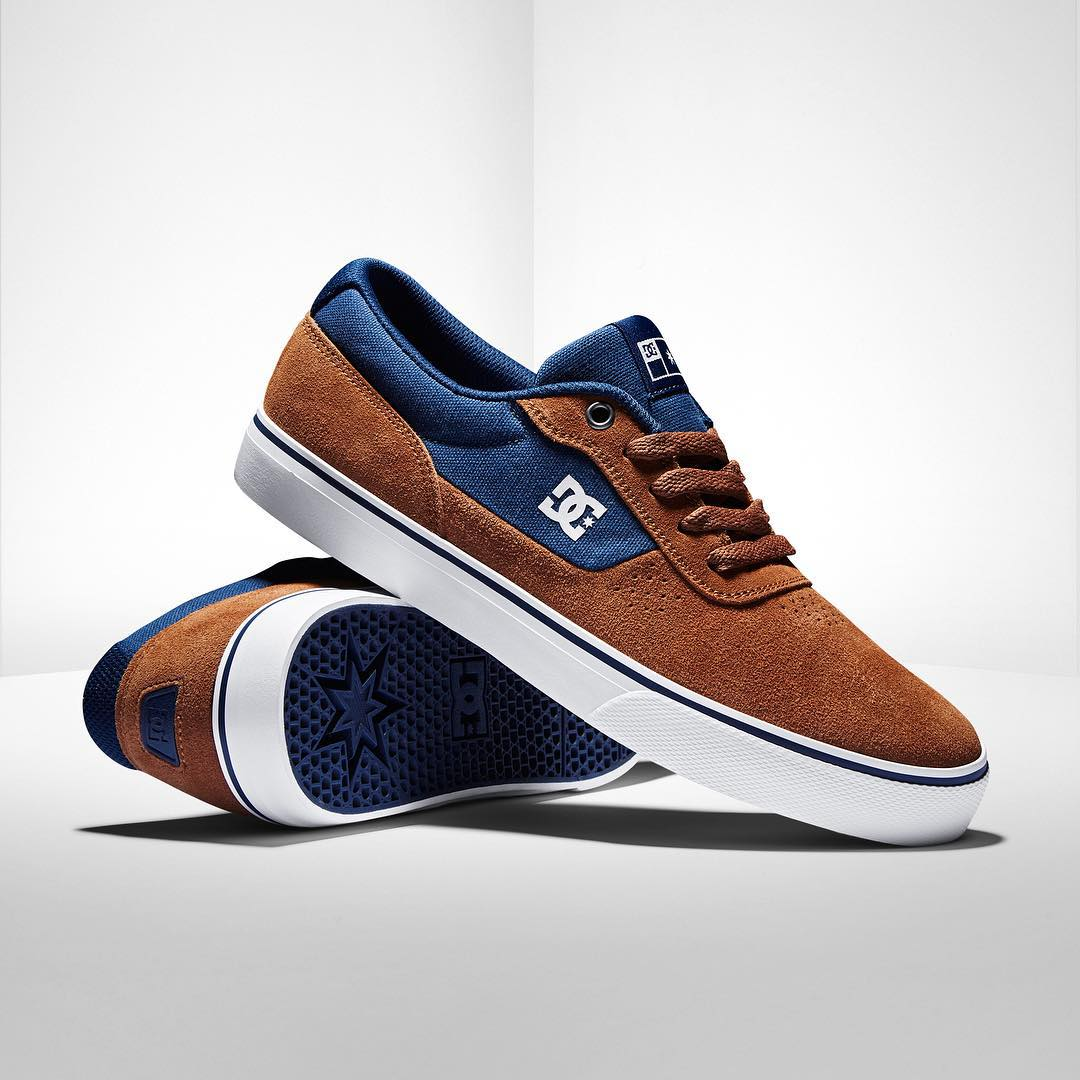 Featuring Super Suede and a grippy vulcanized sole, the Switch is a team favorite.  It's now available in Spice/Navy at: dcshoes.com. #dcshoes