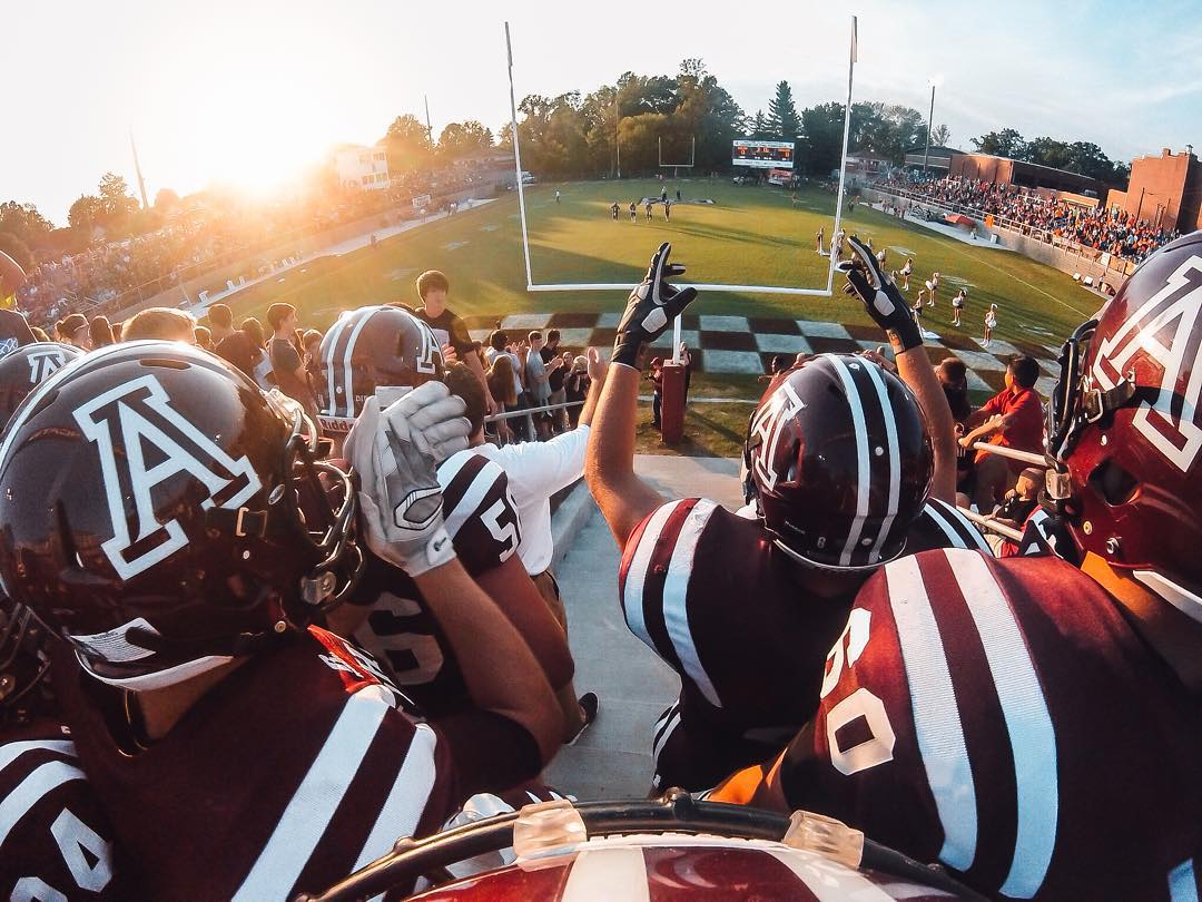 Photo of the Day!  Stepping onto the gridiron with the Paul Blazer High Tomcats (Ashland, KY). Image via @chas_jackson20. Share your best high school football traditions with us by clicking the link in our profile. #GoPro