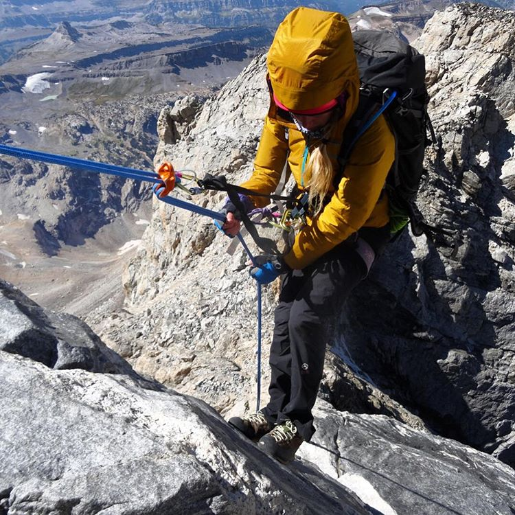 Adventurer @sav.cummins drops in to the big rappel coming off of the Grand Teton.  What are you dropping into this weekend? #avalon7 #av7renegade #liveactivated #climbing www.avalon7.co