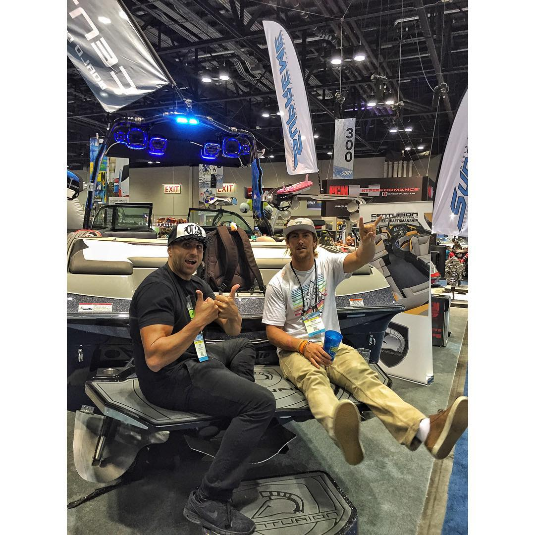 Day 2 at @surfexpo was a huge success. Two thumbs up from @hovenvision Wake Manager Chad Lowe (@chad_lowe) and new Wake Team rider Trever Maur (@trevermaur) yeeeew!  #hovenvision #teamhoven #wake #wakeboard #alliancewake #surfexpo2015