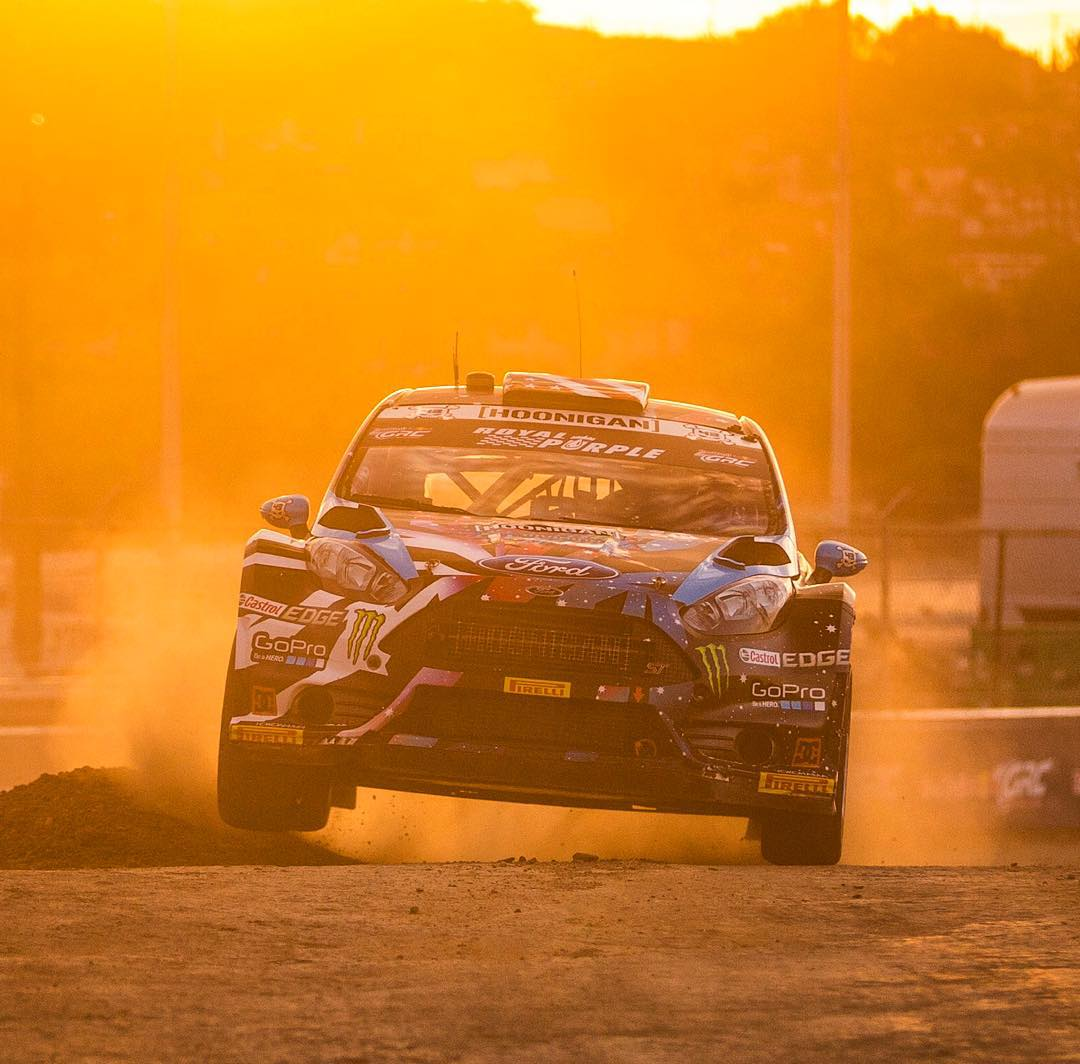 Dirt kerb hopping in the sunset at the end of a good day here at #GlobalRallycross LA. Was second fastest in practice (out of 15 competitors), qualified third, then took fifth in the knockout qualifying round. I'm feeling good about my car setup and...