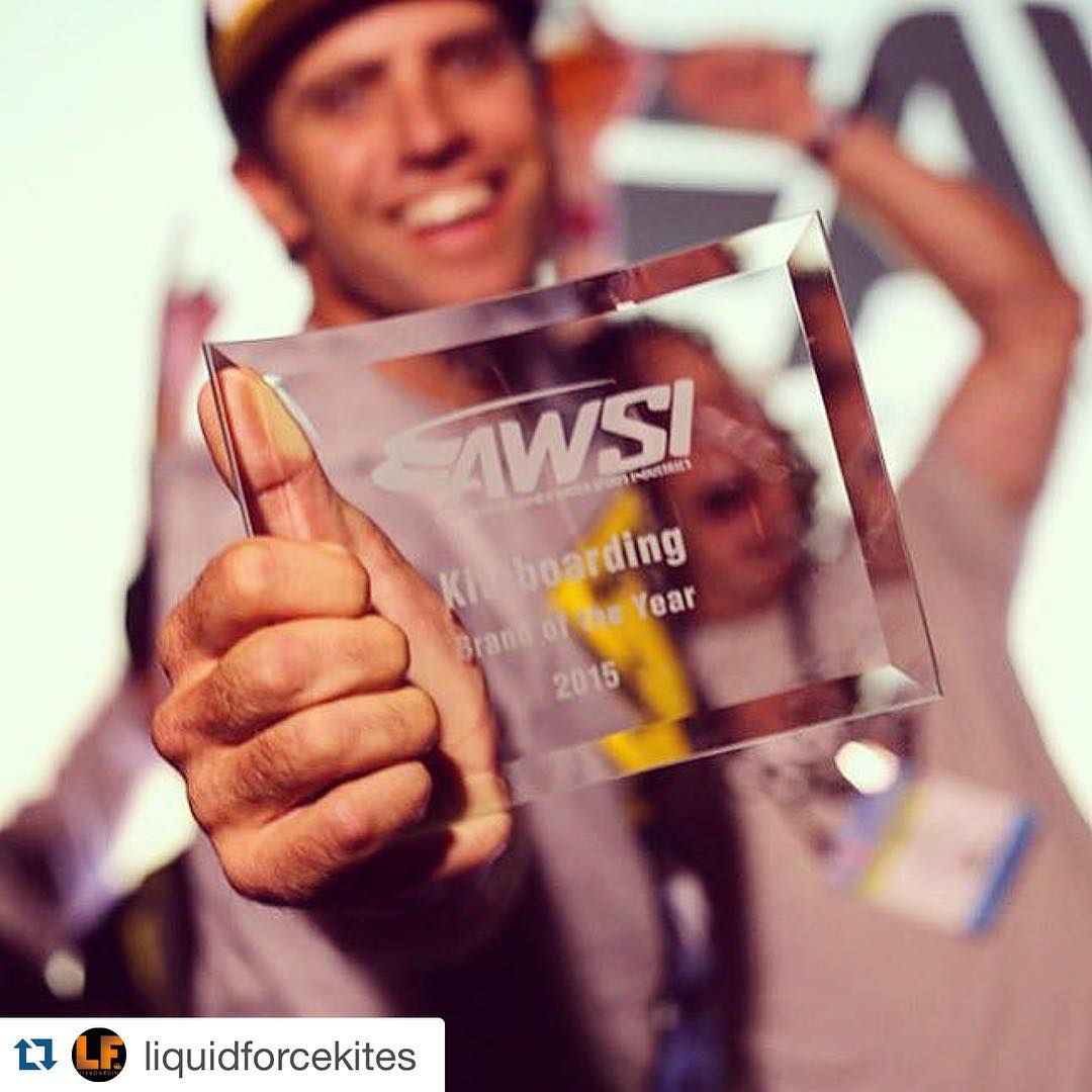 Beyond stoked for @liquidforcekites!! ・・・ Brand of the year!!! & @brandonscheid kiteboarder of the year! @surfexpo #liquidforcekites #kiteboarding