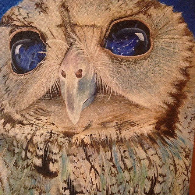 @artbyerinrose • • #atx #austintx #tx #texas #art #erinrose #canvas #owl #eyes #spratx #painting