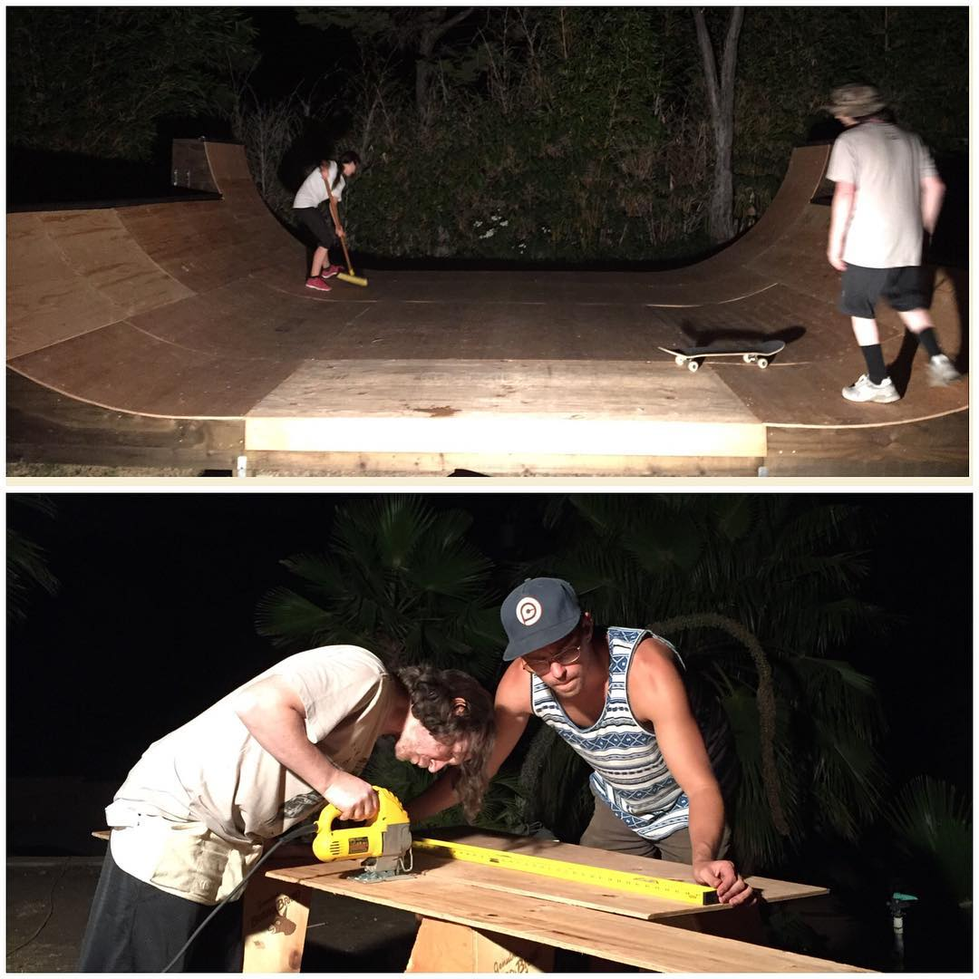Been working on this wicked ramp this week. 20' with 2, 3 and 5 foot sections. Thanks to @michaeleinziger and @throughjuleslens for the good times! CANT WAIT TO SKATE IT!!!!