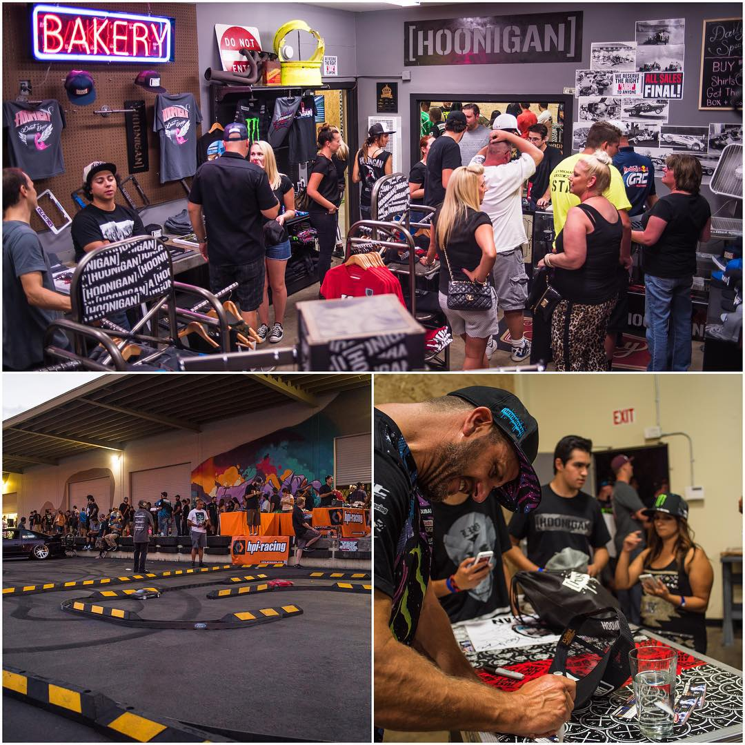"A few detail shots from last night's official opening of the ""Hoonigan Bakery"" in Long Beach, CA, their new on-site apparel store. I was really stoked to see so many fans come out to support the brand! Hope everyone there had a great time. And if you..."