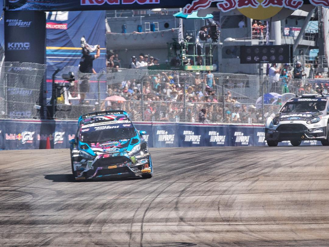 Just took 2nd in my first heat today at #GlobalRallycross Los Angeles after a great battle with Patrik Sandell. Stoked! Going into semifinals now. Tune in on NBC to watch it LIVE at 4pm ET.