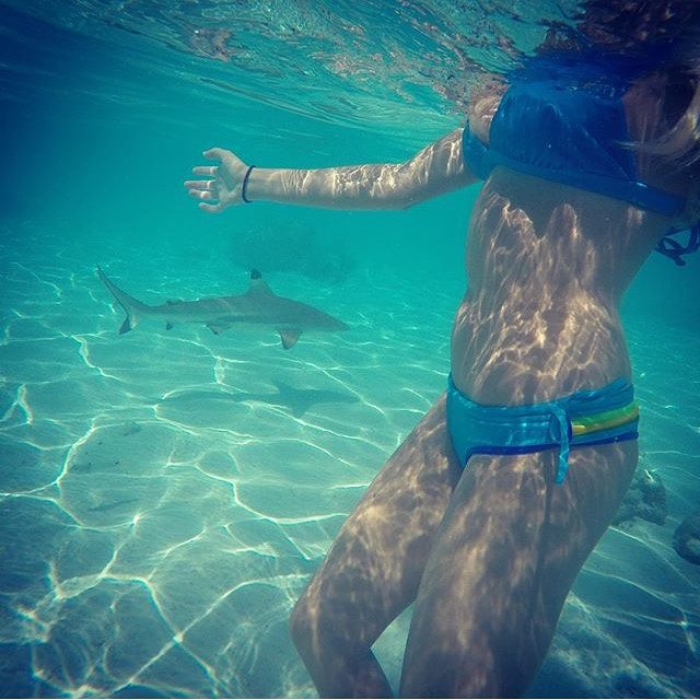 #dontgosummer…  this is happening and we don't want it to stop! || @ayeboulet in our Casita Boythong and X-Back top || #getoutthere #swimmingwithsharks