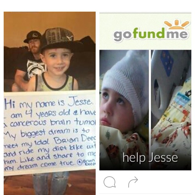 If this has touched your heart show the #love. Jesse is 4 years old fighting brain #cancer this is very hard on any #family . There is a #gofundme link in my bio and at @doitforjesse . Pass it on like you All did before. They are in search of a Great...