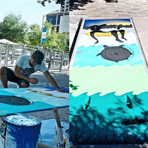 #5 of 10 (near 4th & Trinity) you can now go back through each post to see location. • @lucasaokiart bringing summertime vibes with his storm drain piece for Fresh Art Fresh Water #FreshArtFreshWater that serves to highlight and educate people about...